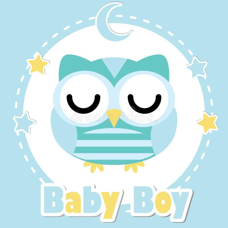 Wektorowa kreskówki ilustracja z śliczną sowy chłopiec na błękitnej księżyc i gwiazdach ilustracji