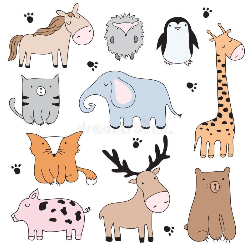 Wektorowa kreskówki ilustracja z ślicznymi doodle zwierzętami Perfect se ilustracja wektor
