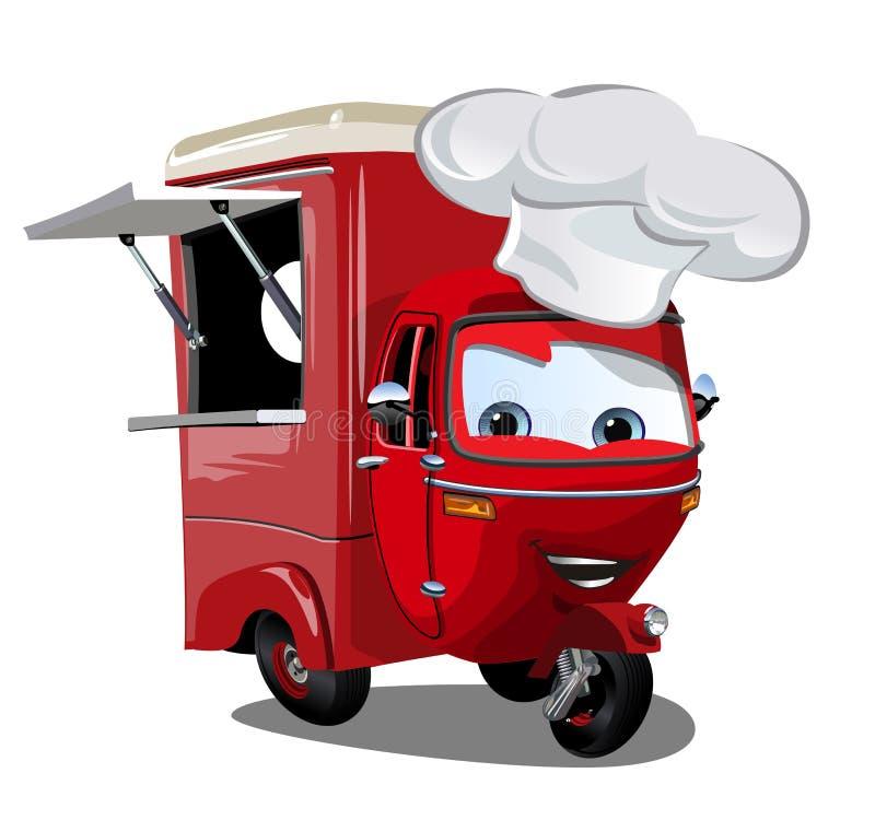 Wektorowa kreskówki jedzenia ciężarówki hulajnoga odizolowywająca na bielu ilustracja wektor
