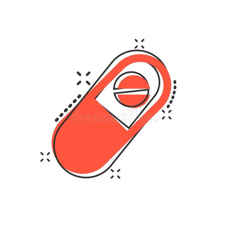 Wektorowa kreskówki kapsuły pigułek pastylki ikona w komiczka stylu medyczny ilustracja wektor