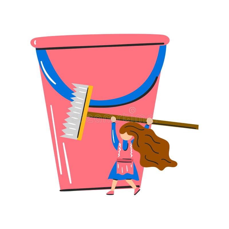 Wektorowa kreskówki kobieta z wiadrem i czyści muśnięciem ilustracja wektor