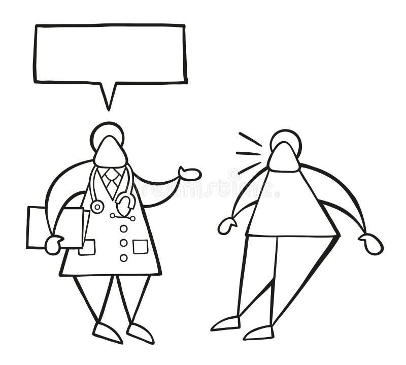 Wektorowa kreskówki lekarki mężczyzna mienia falcówka i opowiadać jego pati royalty ilustracja