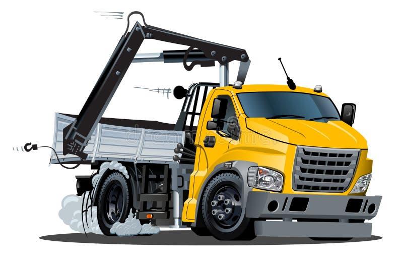 Wektorowa kreskówki Lkw ciężarówka z żurawiem odizolowywającym ilustracji