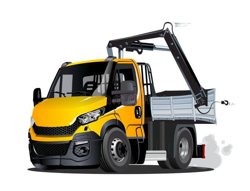 Wektorowa kreskówki Lkw ciężarówka z żurawiem odizolowywającym ilustracja wektor