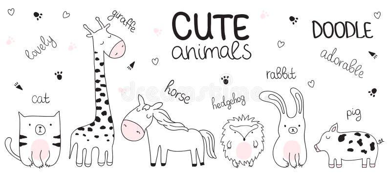 Wektorowa kreskówki nakreślenia ilustracja z ślicznymi doodle zwierzętami ilustracja wektor