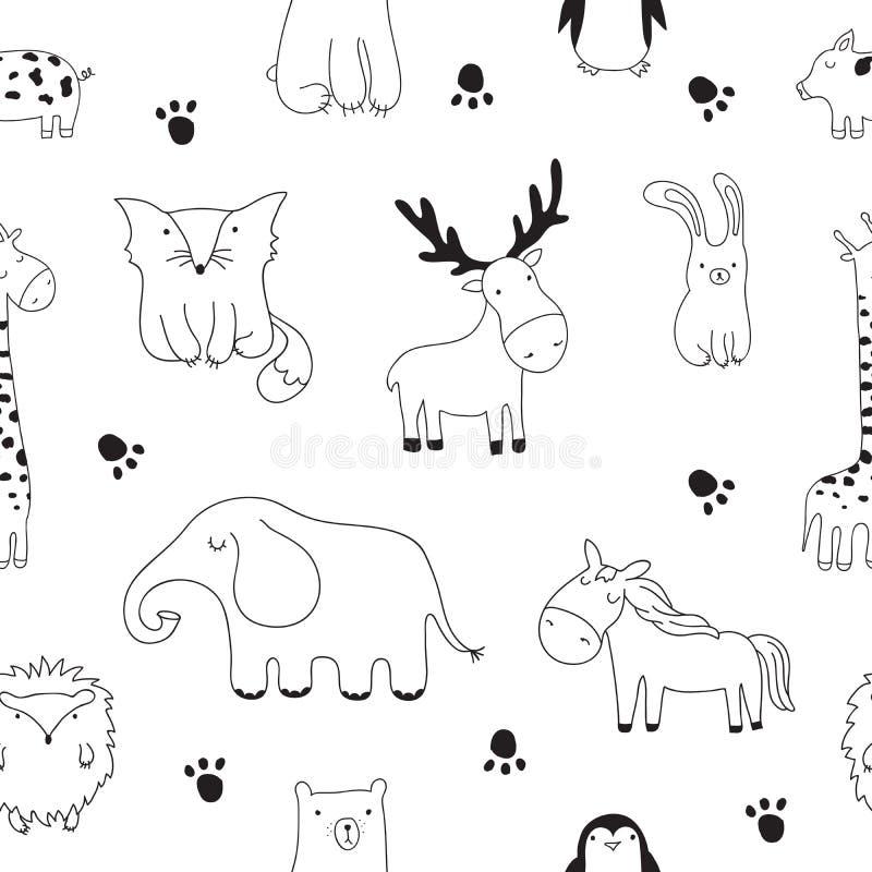 Wektorowa kreskówki nakreślenia ilustracja z ślicznymi doodle zwierzętami zdjęcie royalty free