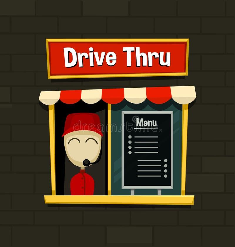 Wektorowa kreskówki przejażdżka przez menu deski fasta food przekąski biznesowego naczynia szybkiego prostego pomysłu z ściana z  ilustracji
