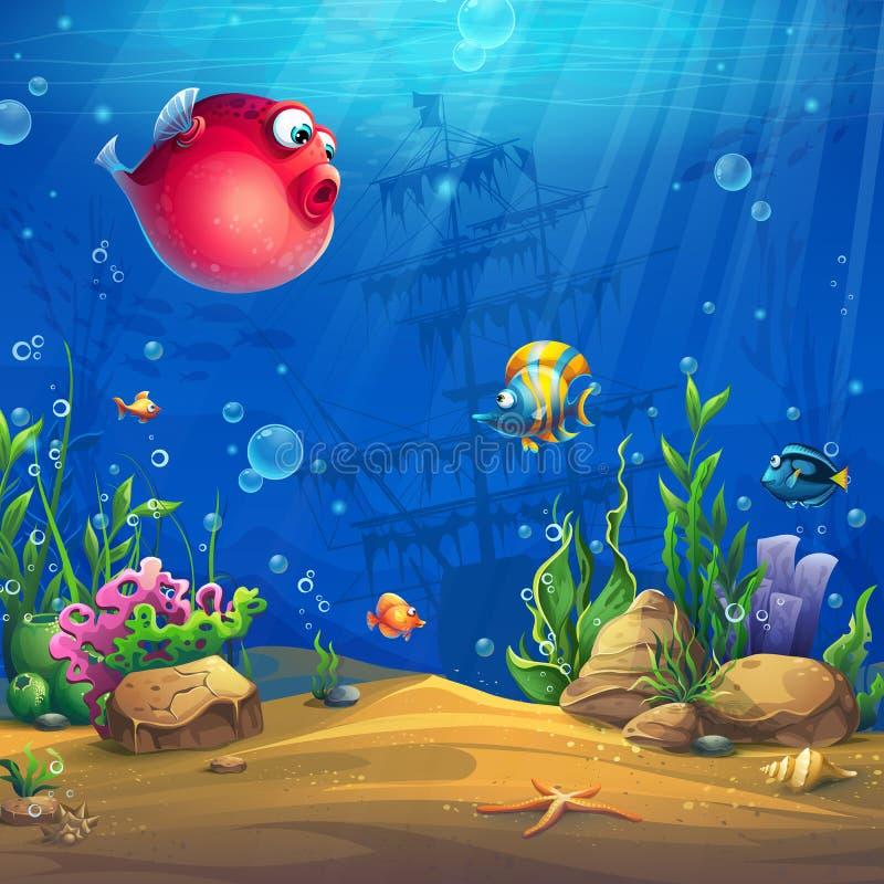 Wektorowa kreskówki tła ilustracja podwodny świat ilustracji