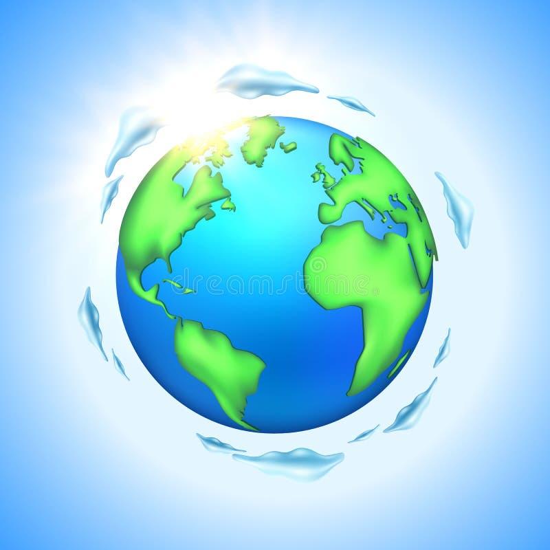 Wektorowa kreskówki ziemi planety kula ziemska ilustracja wektor