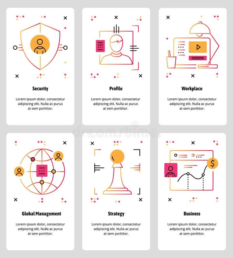 Wektorowa kreskowej sztuki sieć i mobilny app szablonu set ilustracji