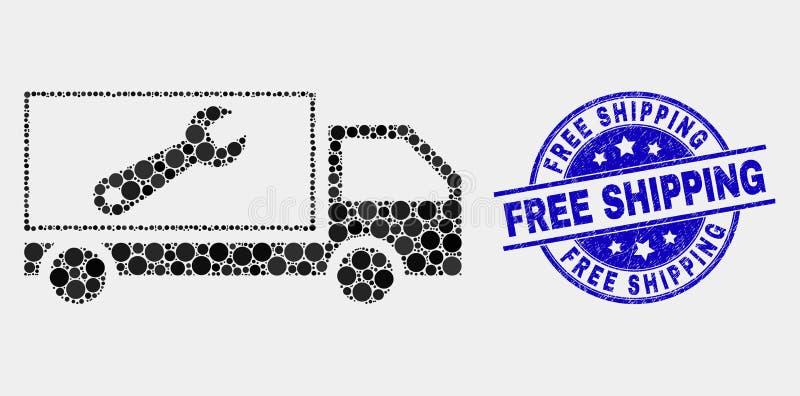 Wektorowa kropki naprawy ciężarówki ikona i cierpienie wysyłki Bezpłatna foka ilustracji