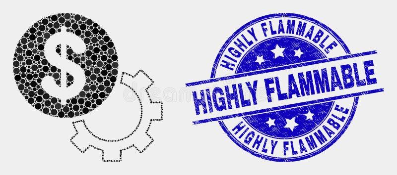 Wektorowa Kropkowana Pieniężna opcji przekładni ikona i Grunge Wysoce Flammable Stemplowa foka ilustracji