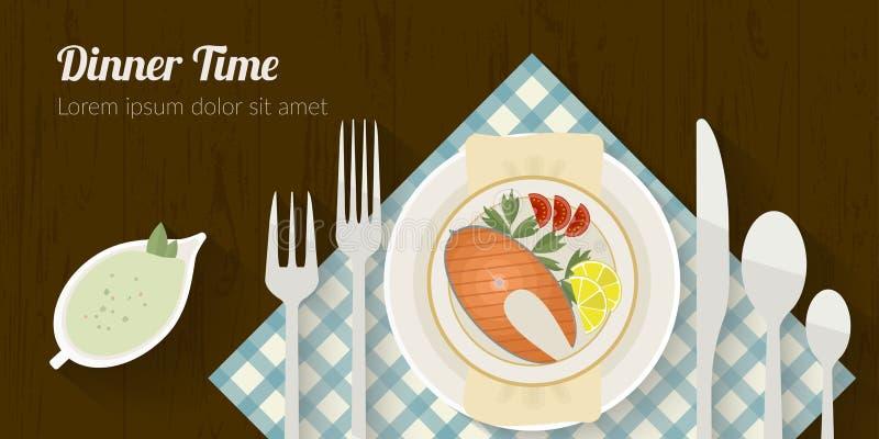 Wektorowa kulinarnego czasu ilustracja z płaskimi ikonami Świeża żywność i materiały na kuchennym stole w mieszkaniu projektujemy royalty ilustracja