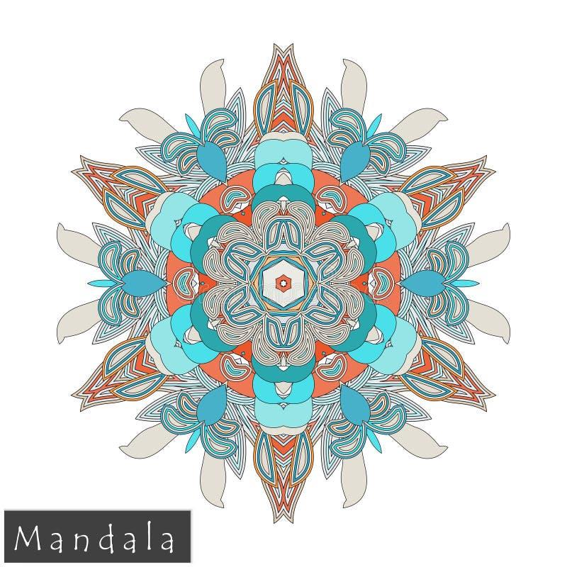 Wektorowa kwiatu mandala ikona odizolowywająca na bielu obraz stock