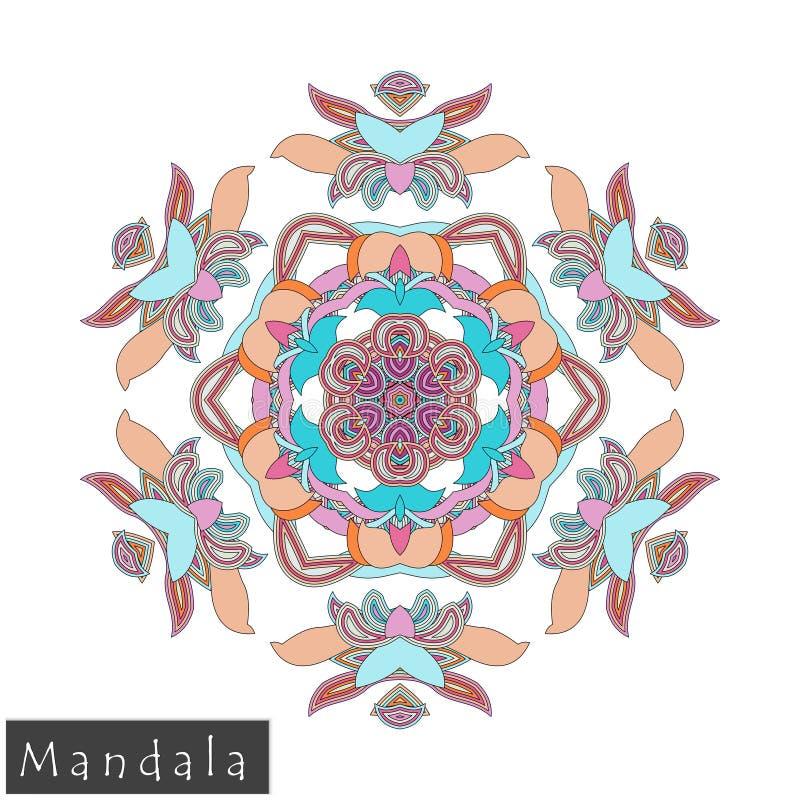 Wektorowa kwiatu mandala ikona odizolowywająca na bielu fotografia stock