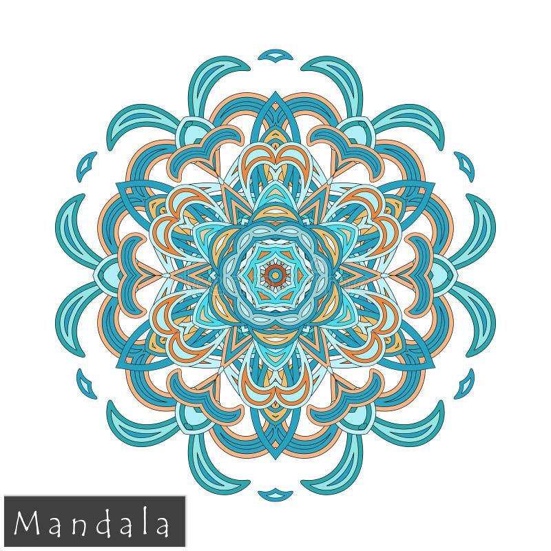 Wektorowa kwiatu mandala ikona odizolowywająca na bielu zdjęcie stock