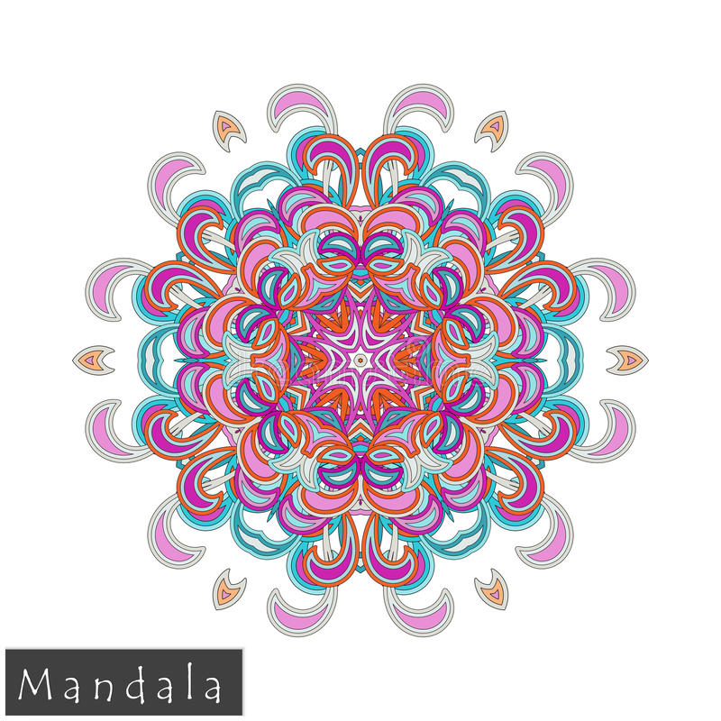 Wektorowa kwiatu mandala ikona odizolowywająca na bielu obraz royalty free