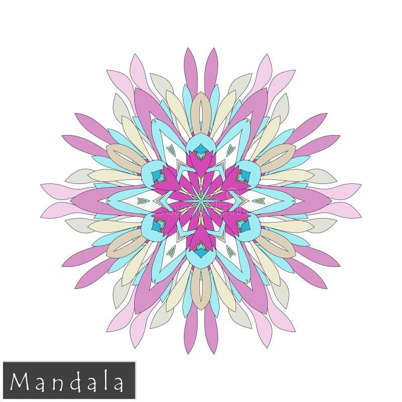 Wektorowa kwiatu mandala ikona odizolowywająca na bielu zdjęcia stock