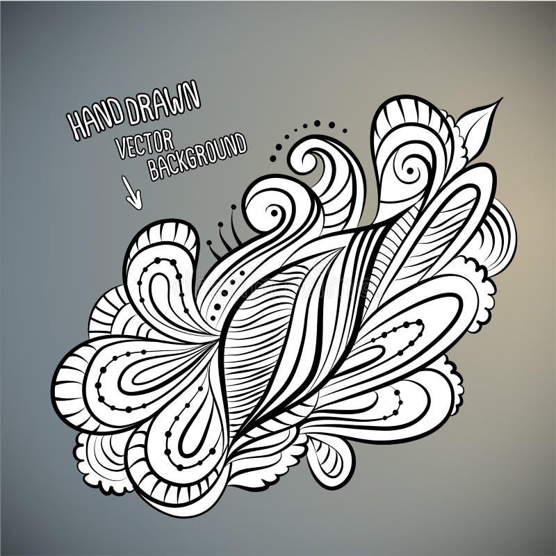 Wektorowa kwiecista abstrakcjonistyczna ręka rysujący projekt ilustracji