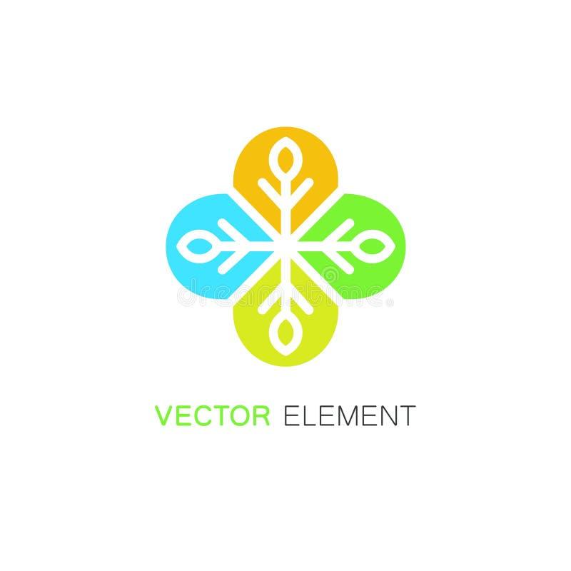 Wektorowa kwiecista ikona i logo projektujemy szablon w liniowym stylu - abstrakcjonistyczny monogram dla alternatywnej medycyny royalty ilustracja