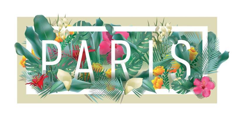 Wektorowa kwiecista obramiająca typograficzna PARYSKA miasto grafika ilustracji