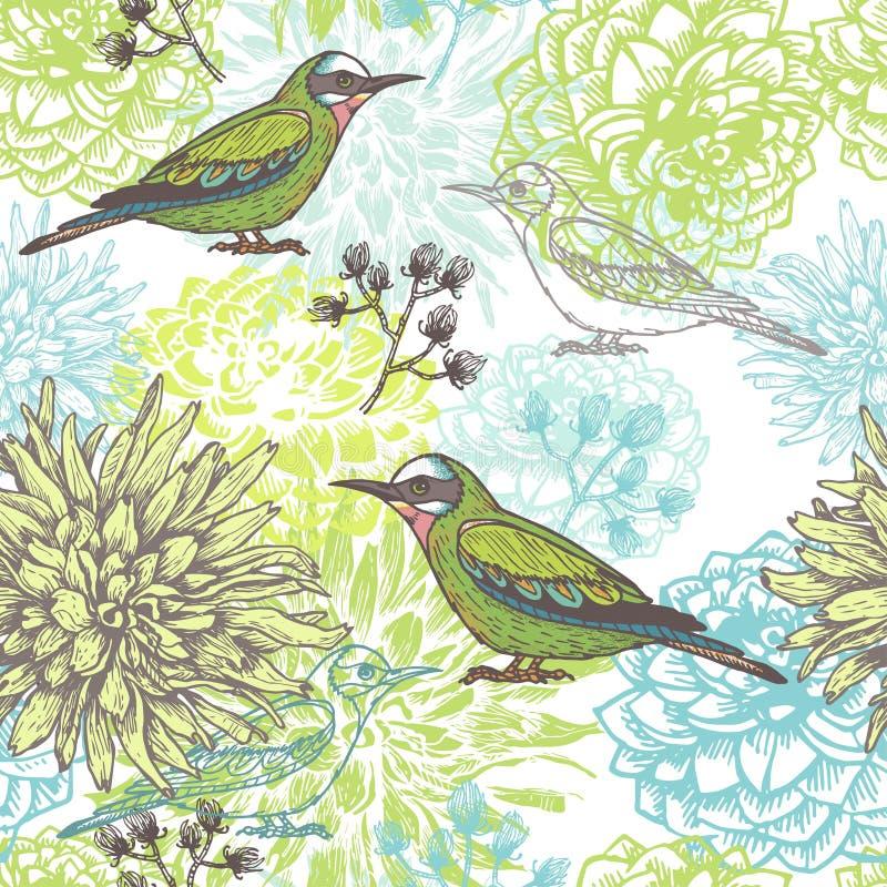 Wektorowa kwiecista ręka rysujący bezszwowy wzór z ptakami i ziele royalty ilustracja