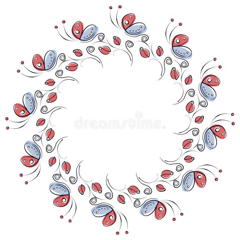 Wektorowa kwiecista rama z insektami Śliczna rysująca granica w formie okręgu z dekoracyjnymi różami i motylami ilustracji