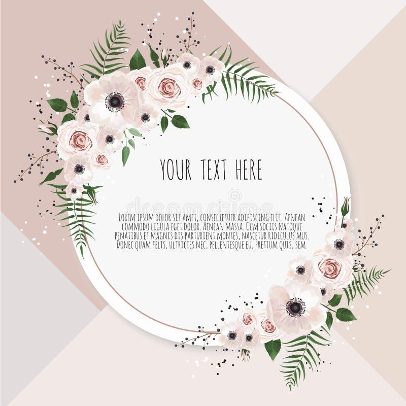 Wektorowa kwiecistego projekta karta Powitanie, pocztówkowy ślub zaprasza szablon Elegancka rama z różanym i anemonowym royalty ilustracja