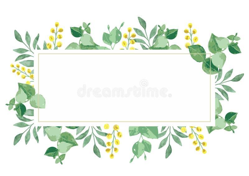 Wektorowa kwiecistego projekta karta w akwareli zdjęcie stock