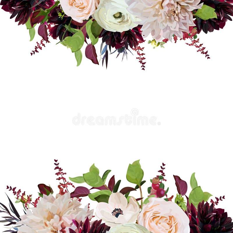 Wektorowa kwiecistego projekta kwadrata karcianego projekta menchii róża Burgundy Dahli royalty ilustracja