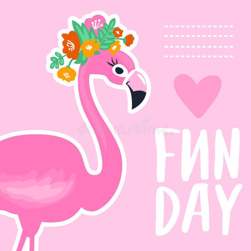 Wektorowa lato karta z śmiesznym różowym flamingiem Tropikalny illustrati ilustracji