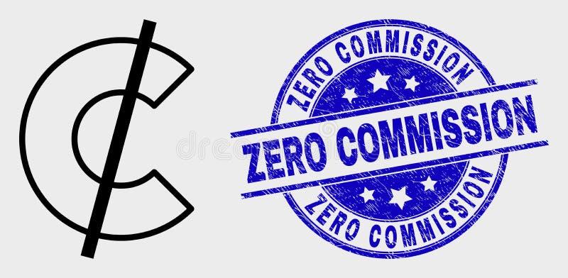 Wektorowa Liniowa cent ikona i Martwi Zero prowizji Watermark ilustracja wektor