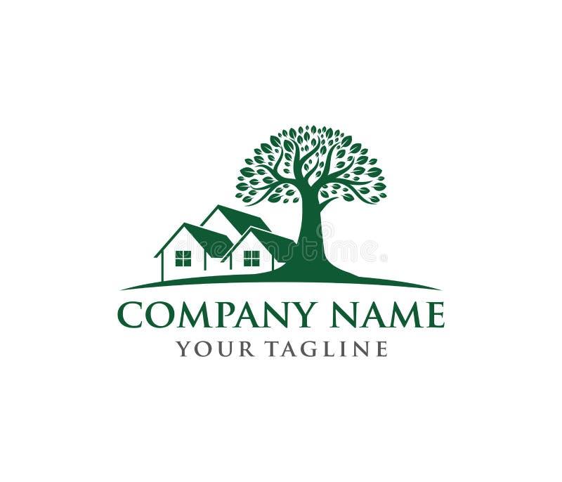 Wektorowa loga projekta ilustracja dębowego drzewa loga, mądrej, silnej i domowej własności firma, zieleń domu pobytu kurort ilustracji