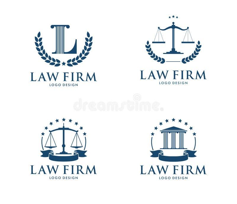 Wektorowa loga projekta ilustracja dla firma prawnicza biznesu, adwokat, adwokat, dworska sprawiedliwość ilustracji