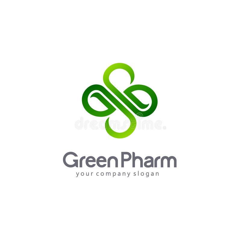 Wektorowa logo apteka Eco, życiorys, organicznie emblemat, royalty ilustracja