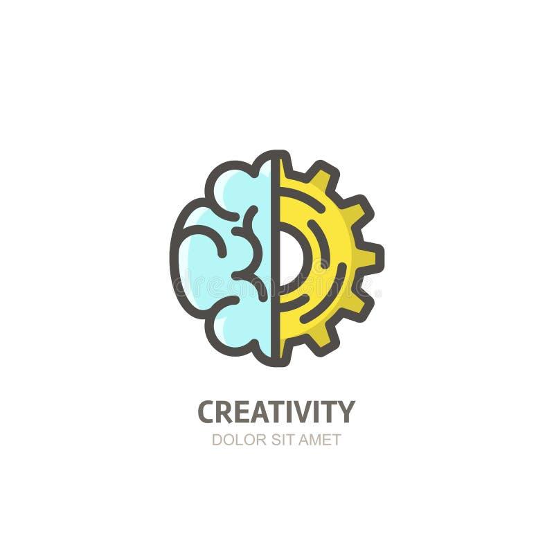 Wektorowa logo ikona, emblemat z mózg i przekładni cog, Pojęcie dla biznesowego rozpoczęcia, rozwój, innowacja, twórczość ilustracja wektor