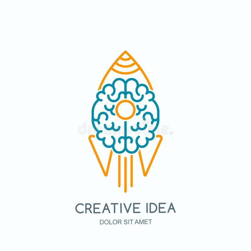 Wektorowa logo ikona z ludzkim mózg i wszczynającą rakietą Kreskowej sztuki stylu ilustracja ilustracja wektor