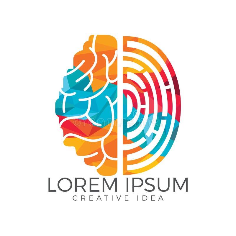 Wektorowa logo ikona z mózg i odciskiem palca royalty ilustracja