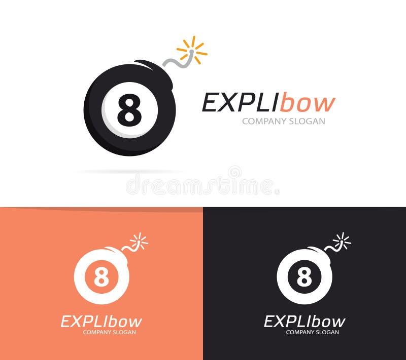 Wektorowa logo kombinacja bilardowa piłka bomba i Wybuchu i liczby logo Bilardowa piłka, bomby ikona i symbol lub ilustracja wektor