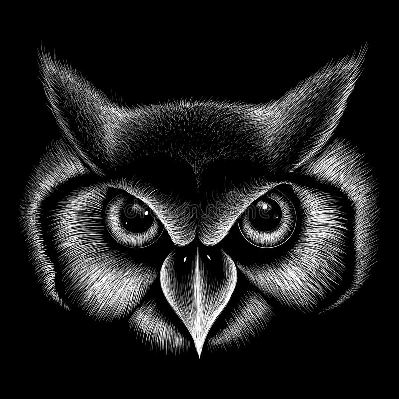 Wektorowa logo sowa dla koszulka projekta Łowiecki stylowy sowy tło ilustracji