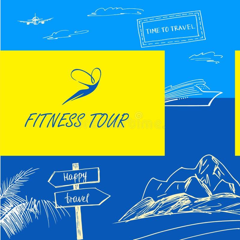 Wektorowa logo sprawności fizycznej wycieczka turysyczna Szyldowa szczęśliwa podróż tła koloru mężczyzna muzyki wektor ilustracja wektor