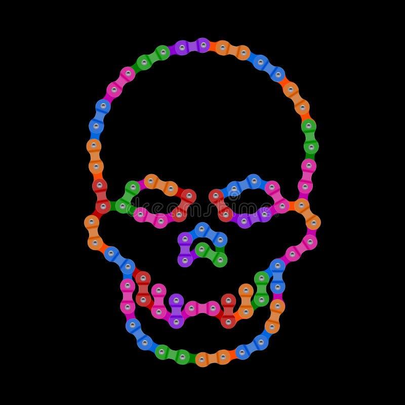 Wektorowa Ludzka czaszka Robić roweru lub bicyklu łańcuch Wektorowego Cranium lub śmierci ` s głowy symbol Stubarwna Łańcuszkowa  ilustracji