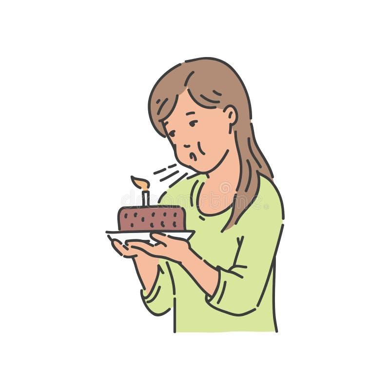 Wektorowa młoda dziewczyna dmucha świeczkę przy czekoladowym tortem ilustracja wektor