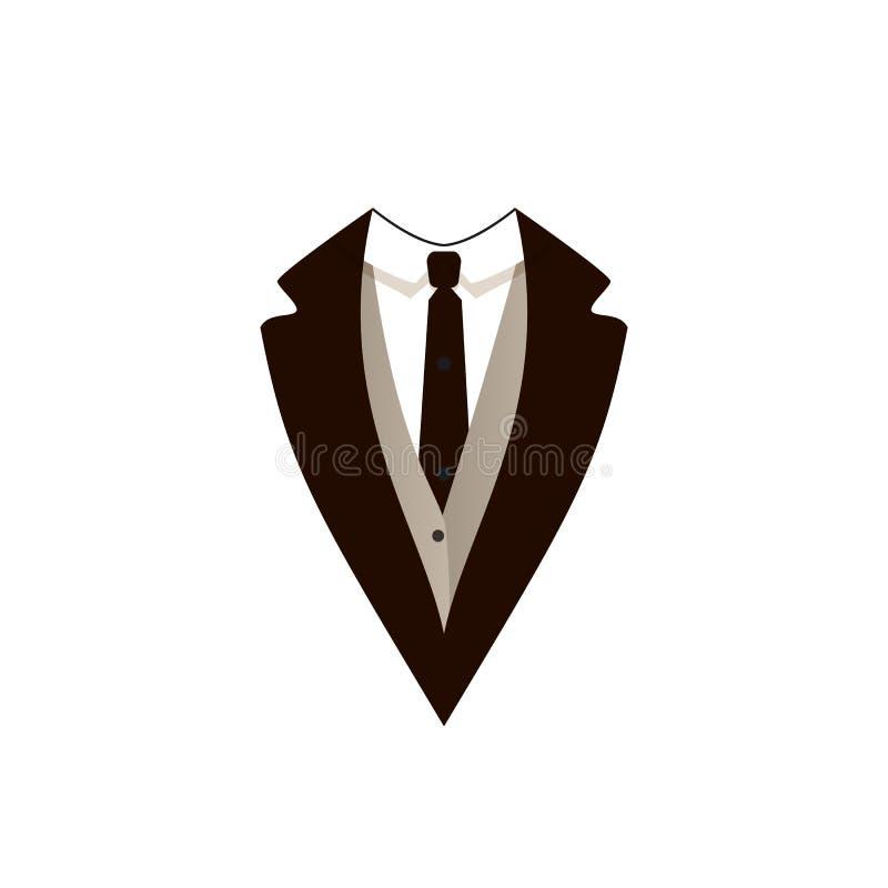 Wektorowa mężczyzna kurtka, urzędnik Odziewa, czarnego krawata wydarzenie, ikona royalty ilustracja