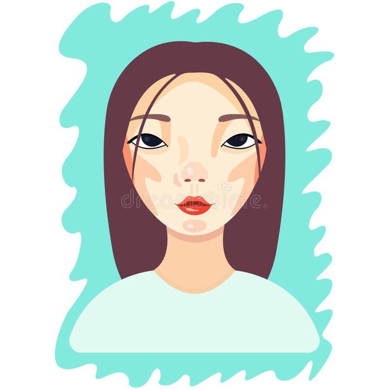 Wektorowa młoda piękna azjatykcia kobiety dziewczyna w przypadkowej odzieży relaksującym wektorze royalty ilustracja