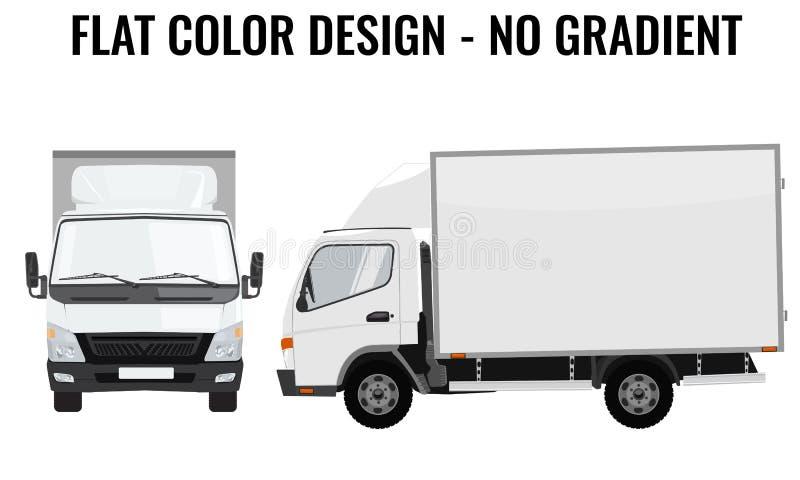 Wektorowa mała ciężarowa frontowa strona Ładunek dostawa płaski kolor royalty ilustracja