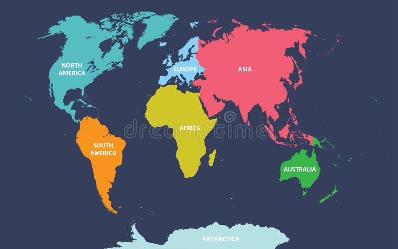 Wektorowa mapa świat barwił kontynentami ilustracja wektor