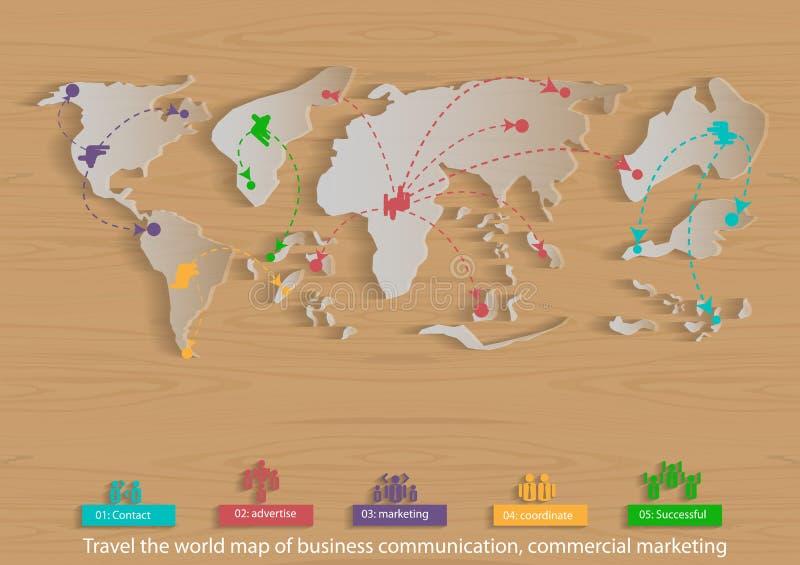 Wektorowa mapa świat biznesowej podróży, komunikaci, handlu, marketingu i globalnego biznesu ikony płaski projekt, ilustracja wektor