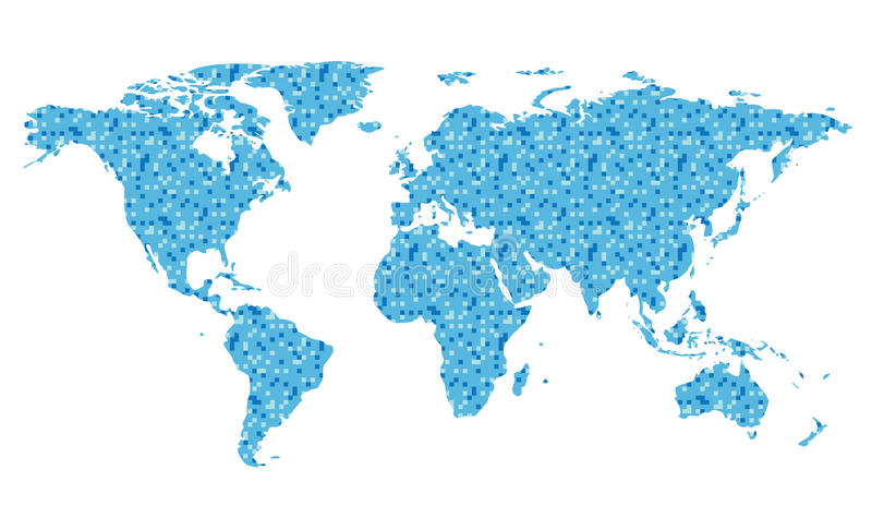 Wektorowa mapa świat z błękitnymi kwadratami royalty ilustracja