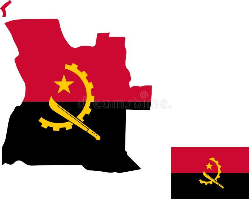 Wektorowa mapa Angola z flagą odosobniony, biały tło ilustracji